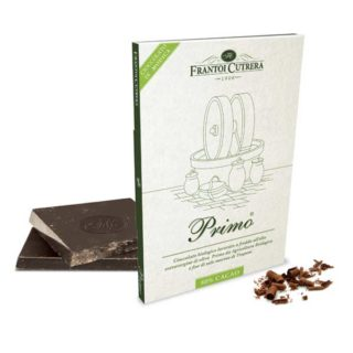 "<b>ORGANIC</b> MODICA CHOCOLATE ""PRIMO<sup>®</sup>"" & <b>ORGANIC</b> OLIVE OIL & FLOWER OF SEA SALT (80% COCOA)"