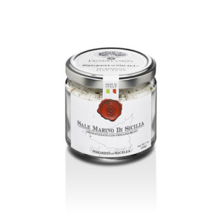 SICILIAN SEA SALT FLAVORED WITH OREGANO, GLASS JAR 212 GR