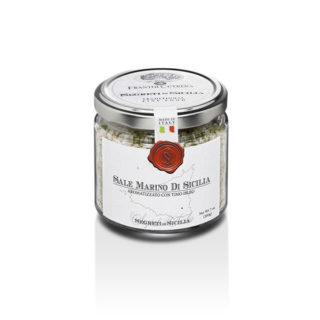 SICILIAN SEA SALT FLAVORED WITH THYME, GLASS JAR 212 GR